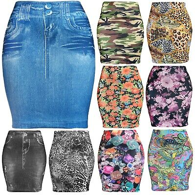 Womens Basic Seamless Fitted Printed Mini Skirt
