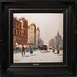 Mario Maresca Original Oil Painting on Tile, Signed Paris Street Scene & Framed!