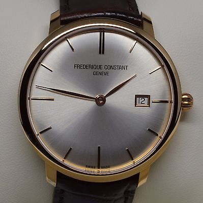 Frederique Constant Mens FC306V4S9 Slim Line 18K Rose Gold Swiss Automatic Watch