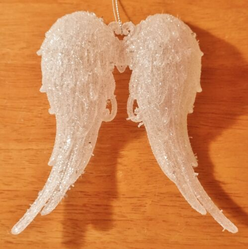 Iridescent Acrylic Angel Wings Glitter Ornament Holiday Christmas Home Decor NEW