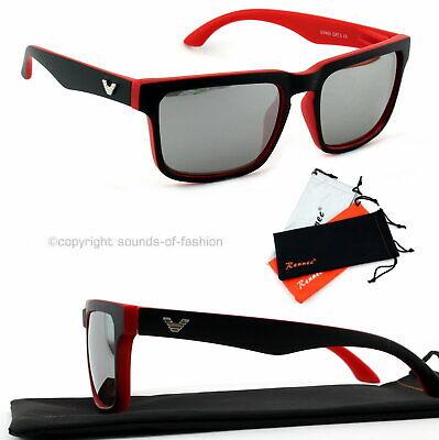 Große Sonnenbrille Rechteckig Verspiegelt Damen Herren XL rot silber schwarz V1