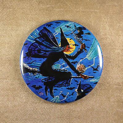 Witches Night Out Magnet - Halloween Broom Besom Bat Ghost Iverd