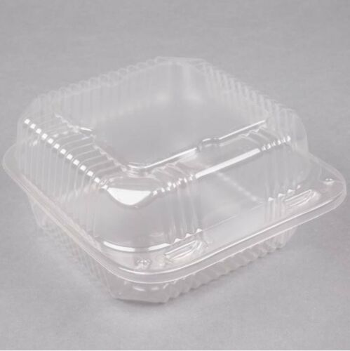 "(125-Pack) 6"" x 6"" x 3"" Clear Hinged Lid Plastic Takeout To Go Box Container"