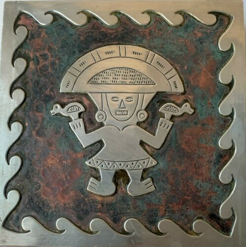 20th Century Mexico Aztec Inlaid Sterling Silver Brass & Wood Cigarette Box