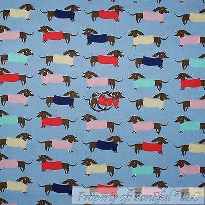 BonEful Fabric FQ Cotton Quilt Blue Pink Brown Wiener Dog Baby Dachshund Stripe for sale  Richland