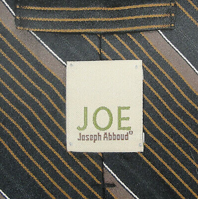 Joe by Joseph Abboud Brown Black Rust White Striped - 58 x 3.50