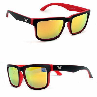 Retro Sonnenbrille Rechteckig Rot Schwarz Matt Orange Verspiegelt Herren VB1