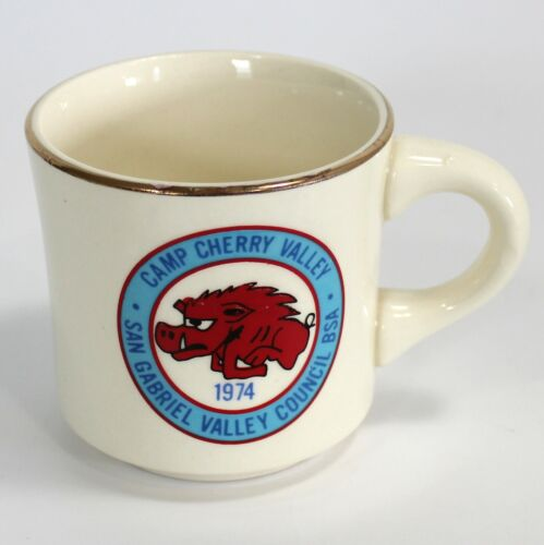 Boy Scouts, Camp Cherry Valley Coffee Mug, San Gabriel Valley Council 1974 VTG