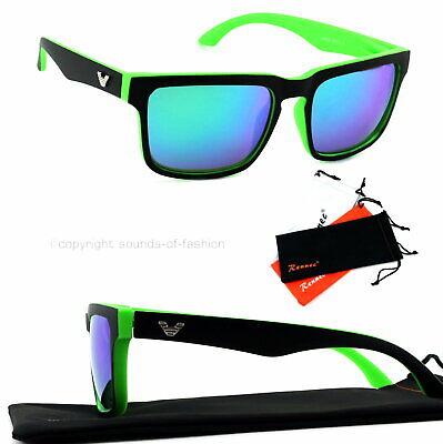 Große Sonnenbrille Rechteckig Verspiegelt Damen Herren XL grün matt grün blau V1