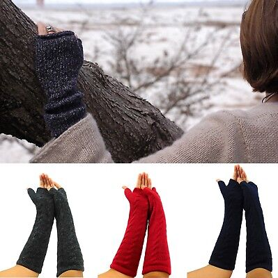 - 100% Superfine Natural Alpaca Wool Finger less Gloves Colors Available