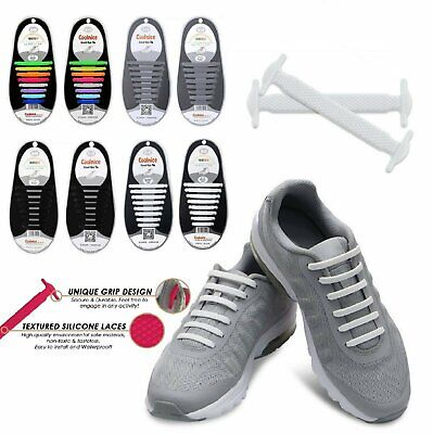 16Pcs Easy No Tie Shoelaces Elastic Silicone Flat Lazy Shoe Lace Strings Adult Clothing & Shoe Care
