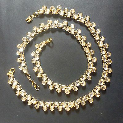 Set White Anklet - Indian Traditional Antique Gold Plated Kundan Polki White Stone Foot Anklet Set,