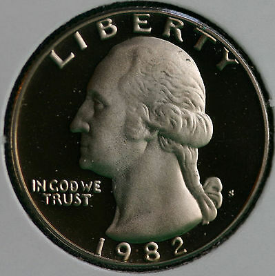 1982 CLAD PROOF WASHINGTON QUARTER 25C COIN