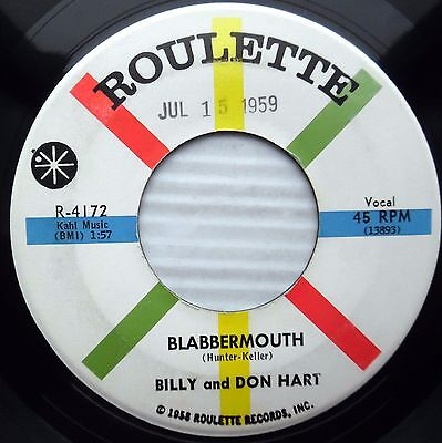 Billy   Don Hart Blabbermouth Check Mated   Bingoed 1959 Teen Bop Promo 45 E4471