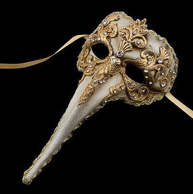 Mask from Venice Nasone Long Nose Paper Mache Macrame Golden High Range 1829 V10