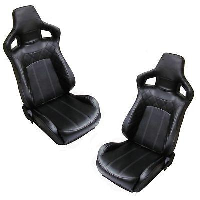 Black Vinyl+White SVX style reclining seats Land Rover Defender Interior 90 110