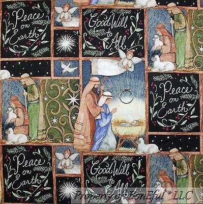 Scene Quilt Fabric - BonEful Fabric FQ Cotton Quilt Baby Jesus Xmas Mary Joseph Manger Scene God Word