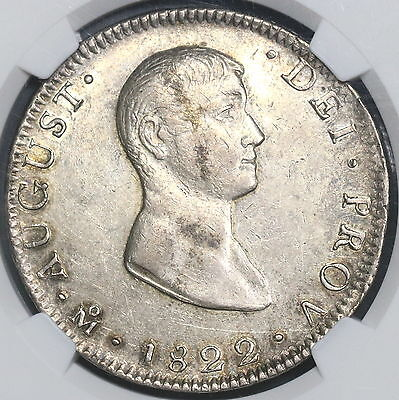 1822-Mo NGC AU 55 MEXICO Iturbide Silver 8 Reales Coin KM-304 (15111501D)