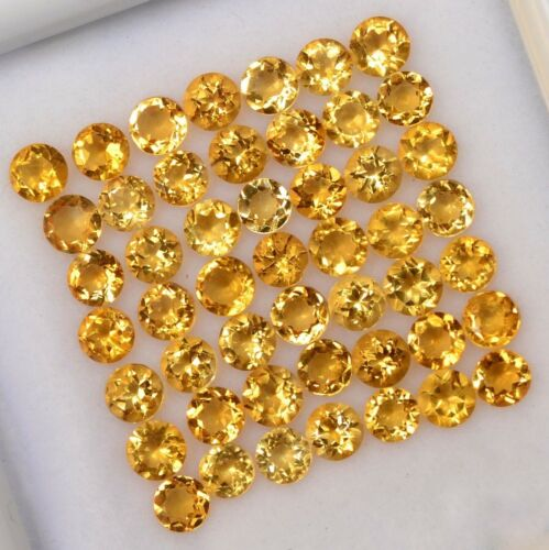 Certified Natural Citrine 3.5 MM Round Cut Faceted Yellow Loose AAA Gemstone Lot