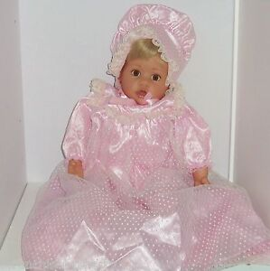 gotz baby doll signed pink gown bonnet shoes blond hair