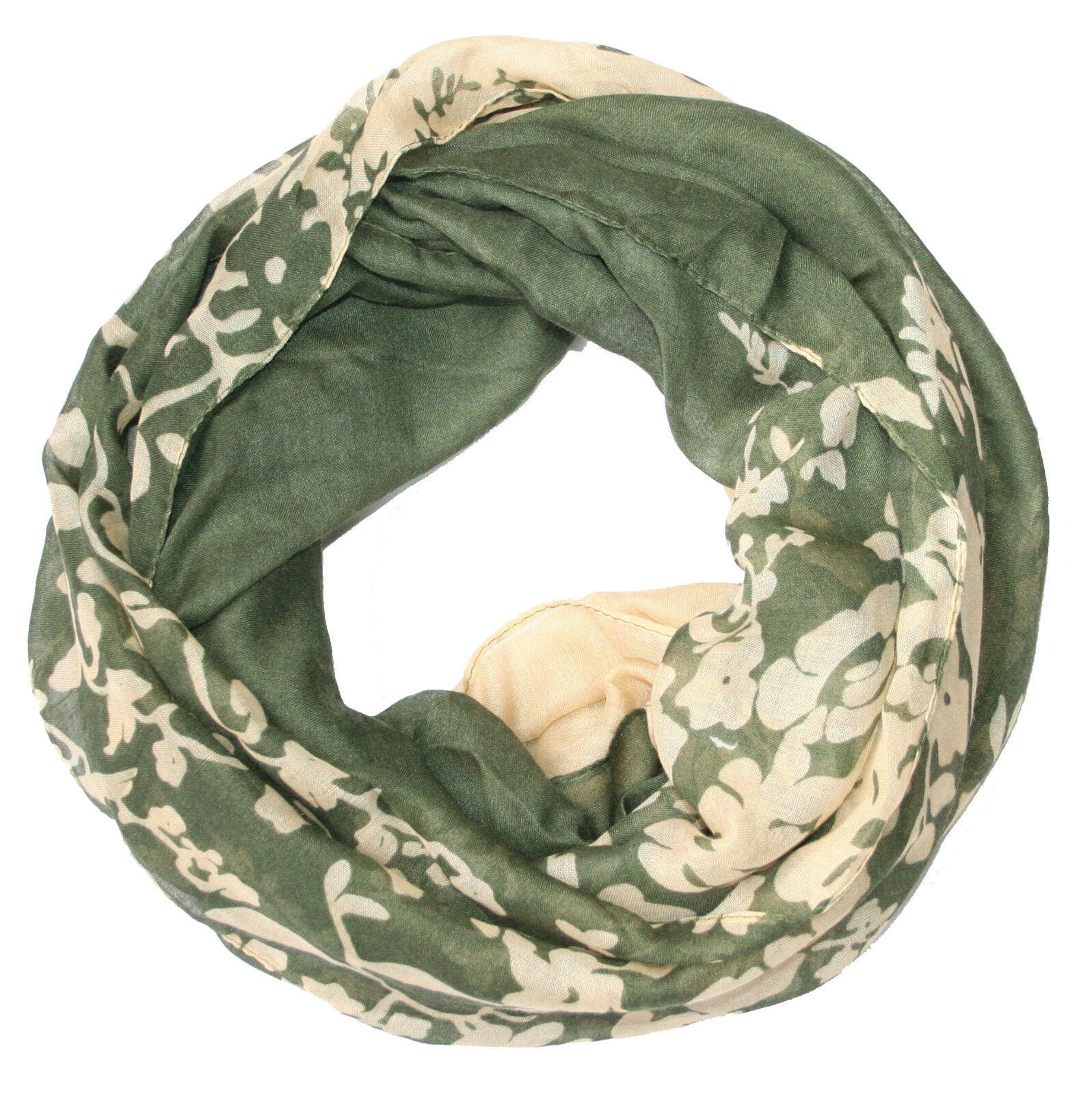 Damen Blumen Loopschal olive creme grün Schlauchschal Loop Schal