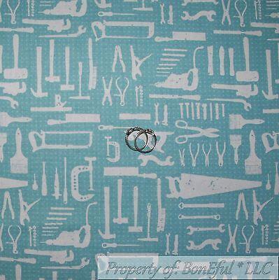 BonEful Fabric Cotton Quilt VTG Blue Saw Wood Craft Garage Man Tool Garage SCRAP