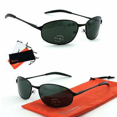 Herren Sonnenbrille Metall Oval Schwarz Grün UV 400 Brillenbeutel Flex Bügel M3