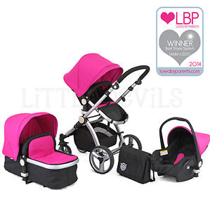 AWARD-WINNING-BLACK-amp-PINK-CARRERA-3IN1-TRAVEL-SYSTEM-PUSHCHAIR-amp-ISOFIX-CAR-SEAT