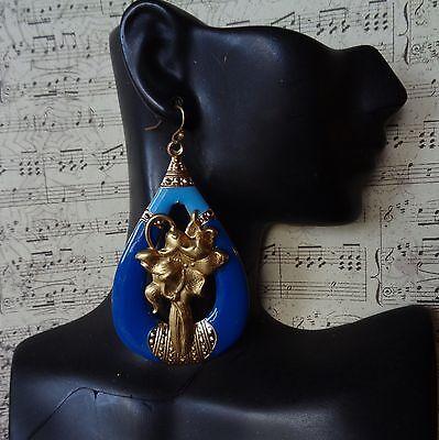 Vintage Earrings Huge Art Nouveau Tiger Lilies & Blue Enamel Drops