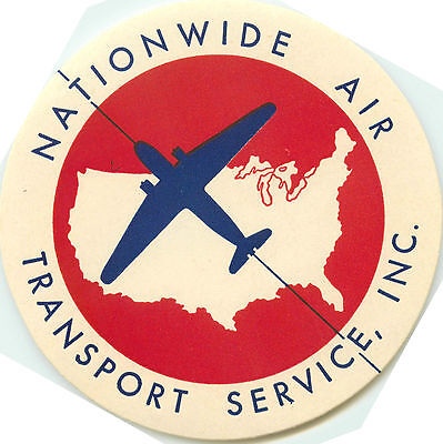 Nationwide Air Transport Service   Great Art Deco Airline Luggage Label