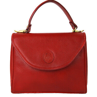Vintage MARK CROSS Red Pebbled Leather Murphy Satchel Top Handle Handbag