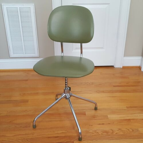 Mid Century Modern Drafting/Office Chair Made in Japan Green w/ Silver Base!