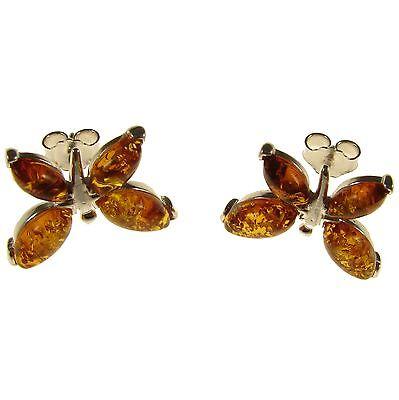 Baltic Amber Sterling Silver 925 Butterfly Style Stud Earrings Jewellery Jewelry