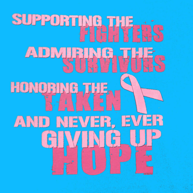 Breast Cancer Awareness FIGHT SURVIVE TAKEN HOPE Missy Fit T-Shirt S-3XL PINK