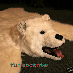 fur accents faux fur bear skin rug faux fur polar bear white 5 x 6. Black Bedroom Furniture Sets. Home Design Ideas