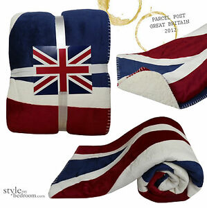 couverture drapeau anglais couvre lit fauteuil canap bleu blanc rouge ebay. Black Bedroom Furniture Sets. Home Design Ideas