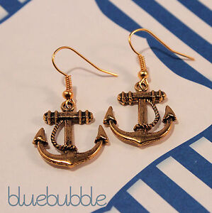 FUNKY ANCHOR EARRINGS PICK COLOUR KISTCH RETRO ROCKABILLY NAUTICAL SAILOR PIN UP