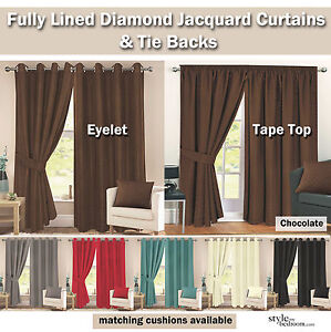 Pair-Fully-Lined-Jacquard-Diamond-Detail-Curtains-Ties-in-11-Sizes-6-Colours
