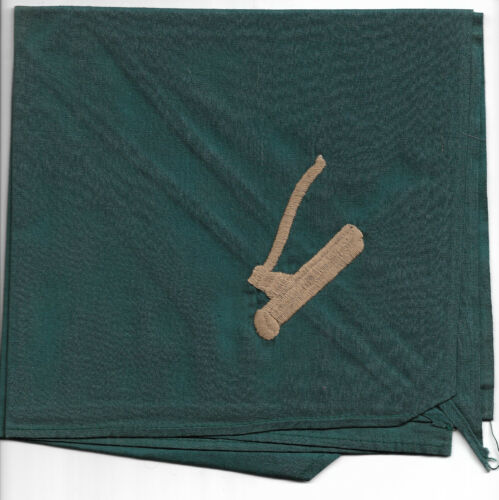 WOOD BADGE GREEN NECKERCHIEF WITH EMBROIDERED TAN AXE AND LOG