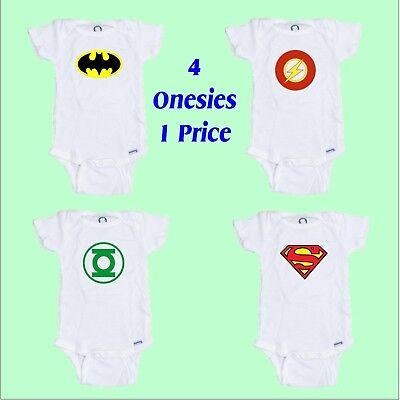 Superhero Baby onesie 4Pack Makes a Great Shower Gift  4 onesies 1 price Free - Onesie Superhero