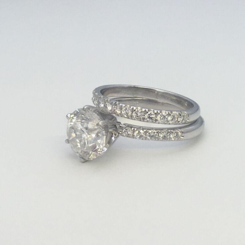 Certified Diamond Ring Band Set Estate 5 Ct Vs1 D Colorless 14 Karat White Gold