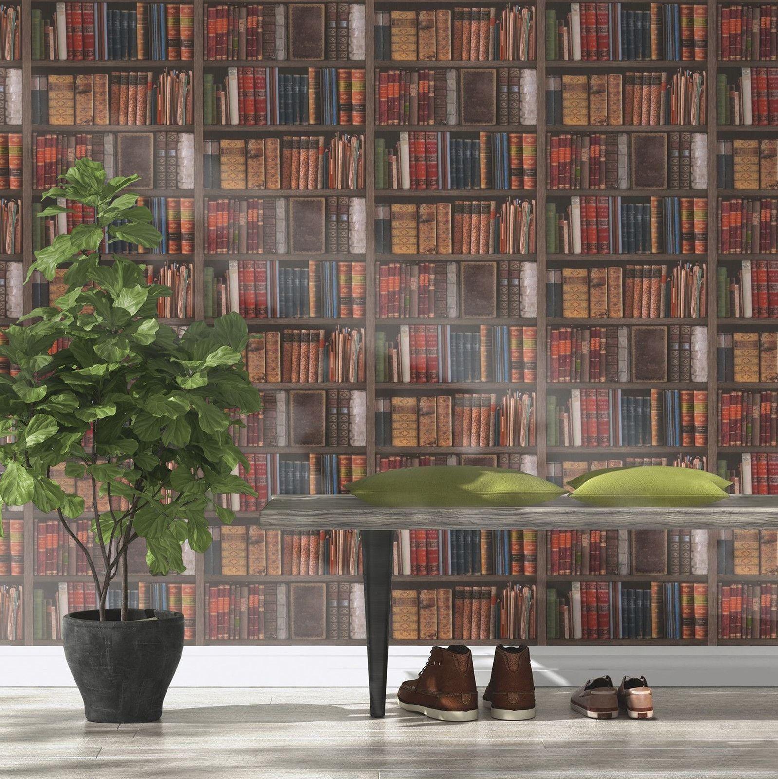 Tapete rasch luxus bibliothek b cherschrank vintage for Tapete nach hause