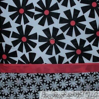 BonEful FABRIC FQ Cotton Quilt B&W Black White Pink Flower Large Border Stripe L Garden Cotton Quilt Fabric Border