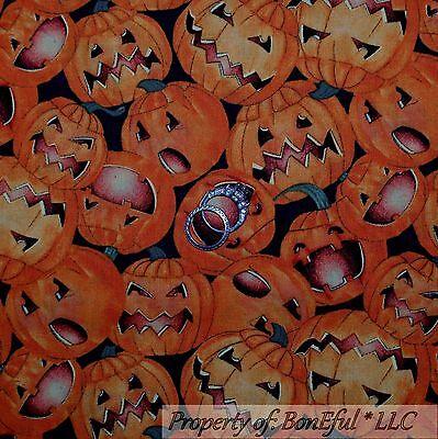 BonEful Fabric FQ Cotton Quilt Halloween Orange Black Pumpkin Face Jack Lantern