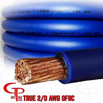 (20 ft TRUE AWG 2/0 Gauge OFHC Power Wire BLUE Ground Cable GP Car Audio USA Made)