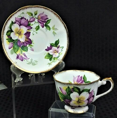 Vintage Royal Standard Floral Footed Teacup & Saucer Made In England