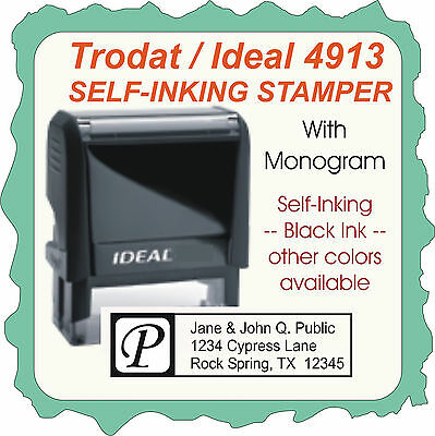 Return Address Wmonogram Custom Ideal Trodat Self Inking Stamp 4913 Black