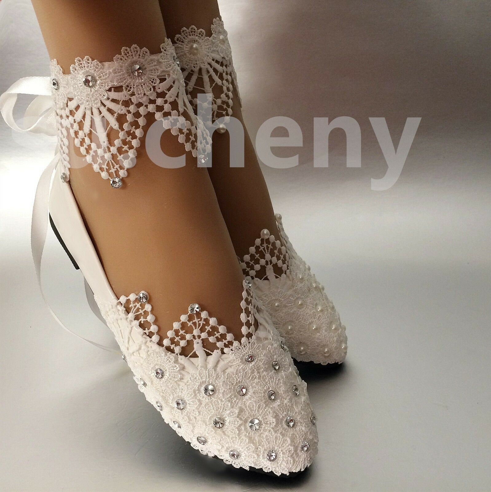 3fff6794afa su.cheny White light ivory lace pearl rhinestone ankle flat Wedding Bridal  shoes
