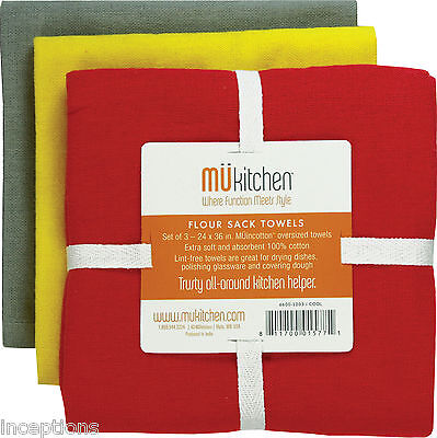 Set/3 MU Kitchen Cotton Flour Sack Tea Towels Cool Red Grey Yellow - NEW - Mu Kitchen Cotton