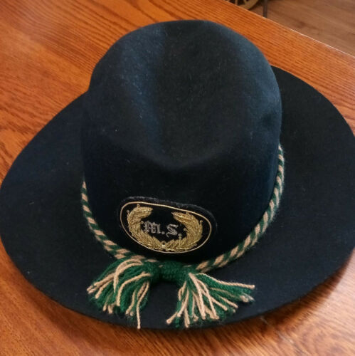 Black Wool Service Hat, wool MS cord, gold embrodered MS, XL (7 1/2 t0 7 5/8)
